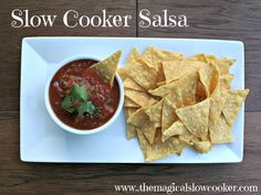Slow Cooker Salsa, amazing flavor, and makes a ton of salsa, great for bringing to barbecues! http://themagicalslowcooker.com/2013/06/02/slow-cooker-salsa/