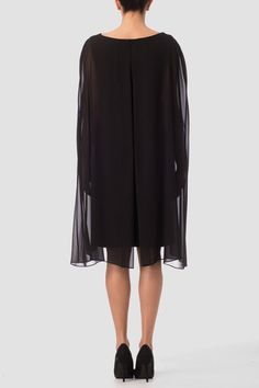 This Joseph Ribkoff cocktail dress has an elegant oval neckline with jewel-accent trim as well as sleeveless construction with intricate drape detailing and a sheer cape overlay at its rear with knee-length hem. Joseph Ribkoff Dresses, Short Dresses, Dresses For Work, Smart Dress, Cape Dress, Fabulous Dresses, Sequin Dress, Chiffon, Sequins