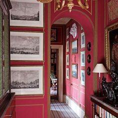 Red Interiors, Beautiful Interiors, Interior Architecture, Interior And Exterior, Interior Design Gallery, London Apartment, Red Rooms, Red Walls, Interior Decorating