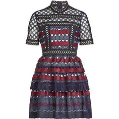 Self-Portrait Hexagon Lace Mini Dress (20.920 RUB) ❤ liked on Polyvore featuring dresses, vestidos, short dresses, multicolored, blue lace dresses, mini dress, cut out dresses, blue mini dress and ruffled dresses