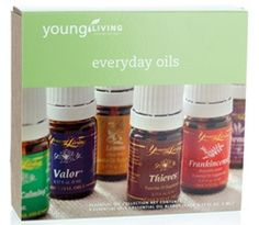 Everyday Oils  includes:  1 - 5 ml Frankincense  1 - 5 ml Lemon  1 - 5 ml Lavender  1 - 5 ml Peppermint  1 - 5 ml Purification  1 - 5 ml Panaway  1 - 5 ml Peace & Calming® 1 - 5 ml Thieves® 1 - 5 ml Valor® See Website to order https://www.youngliving.org/angiemac76