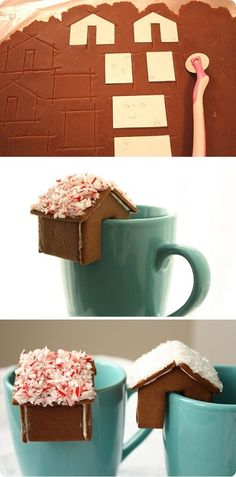 Make a cute Mini Gingerbread House for your Coffee Mug! This would be a lovely gift too.