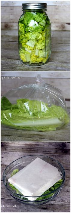 Methods for storing lettuce so it will last longer.