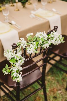 Floral White Vine Chair Decor - Image by Madie Allen - Outdoor Wedding Inspiration Shoot In Utah USA With Beautiful Spring Flowers From La Belle Fleur And Images By Maddie Allen Photography And Ashleigh Brown Photography