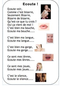 Chanson Ecoute voir chez Vivi Ecole Petite Section, Chant, Activities, Education, Animation, School, French Class, Poems, French Tips