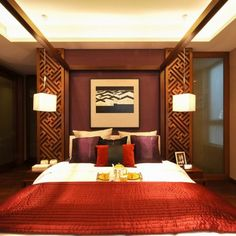 Top 12 Exotic Asian Style Bedroom Designs : Impressive Southeast Asian  Style Bedroom Design With Romantic Canopy Bed And Red Colored Bed Cov. Part 44