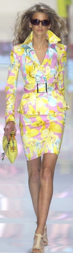 yellow floral top & skirt