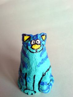 Funky and unusual handmade papier mache cat by eviledna on Etsy, $10.00