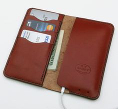 iPhone 5/5s Leather wallet No. 75, Chestnut Brown by GARNY - ac