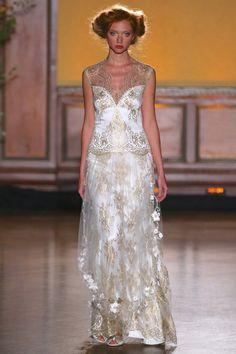 Asscher - Gold lace coture wedding dress Claire Pettibone