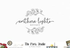 Floral Watercolor Wreath Black and White Logo Design