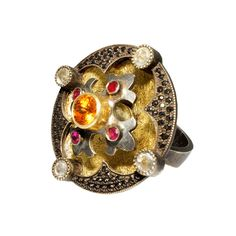 William Llewellyn Griffiths - Ring: Fleury Cross Large Medieval Ring, 2013 | Spessartine garnet, rubies, white and black diamonds, 18ct yellow gold and sterling silver | © By the author. Klimt02.net