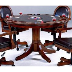 Warrington 2 In 1 Poker Dining Table In Rich Cherry Finish