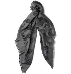 mcqueen skull scarf in black and grey.