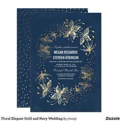 Floral Elegant Gold and Navy Wedding Card