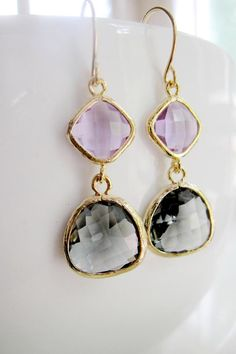 Lilac and Gray Gold Edged Earrings, Lavender Glass, Color Block, Two tier dangles, Bridesmaid Earrings, Bridal, Everday Wear on Etsy, $29.00