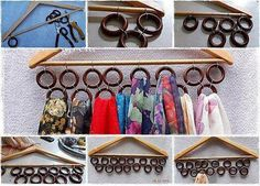 Classic scarf holder - usable for belts also. Scarf Storage, Diy Storage, Scarf Holder, Scarf Organization, Organisation Hacks, Life Hacks, Diy And Crafts, Arts And Crafts, Creation Deco