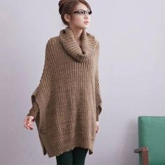 Korean Style Bat-wing Elbow Sleeve Loose Kniting Sweater Coffee  .