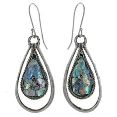 Roman Glass Earrings: Sterling Silver Roman Glass Pear Graduated Rope Dangle Earrings - Fire and Ice