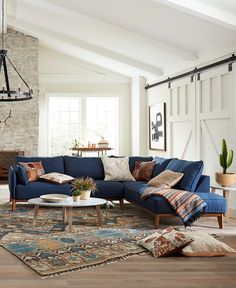 Blue Couch Living Room, Living Room Sectional, Boho Living Room, Blue Living Room Furniture, Narrow Living Room, Blue Sectional, Fabric Sectional, Macys Sectional, Sectional Sofas