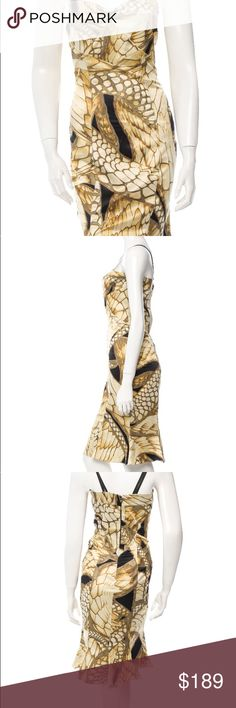 """Just Cavalli Dress Just Cavalli Print dress with brown and gold tone Measurement Bust 34"""" Hip 36"""" Length 34"""" 97% Polyester and 3% other Just Cavalli Dresses Midi"""