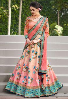 Peach Floral Printed Satin Silk Lehenga Choli Most Loved Styles Half Saree Designs, Choli Designs, Blouse Neck Designs, Lehenga Designs, Indian Lehenga, Silk Lehenga, Anarkali, Lehenga Suit, Lehenga Blouse