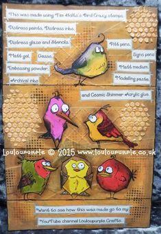 Mixed Media, Tim Holtz's Bird Crazy Stamps. Crazy Bird, Crazy Cats, Tim Holtz Dies, Art Journal Inspiration, Journal Ideas, Distressed Painting, Bird Cards, Card Making Techniques, Tag Art