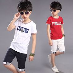 Children's clothing boys sets 2016 new summer child short-sleeve sports costumes for big boy casual sport suit 5 8 10 15 years