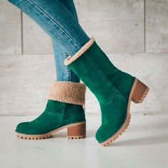 Buy 2018 Boots Female Winter Shoes Woman Fur Warm Snow Boots Square High Heels Ankle Boots Black Green Boots at Wish - Shopping Made Fun Ankle Snow Boots, Warm Snow Boots, Snow Boots Women, Women's Boots, Ladies Boots, Bearpaw Boots, Cowgirl Boots, Combat Boots, Bootie Boots