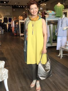 May 2017- Mellow yellow, not so in this rich mustard toned silk dress over pant look from Eileen Fisher.