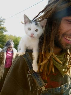 hippie and a kitty