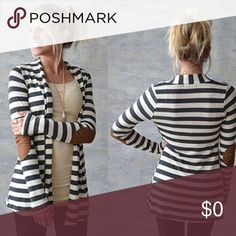 "🦋JUST ARRIVED!!!🦋 Trendy soft jersey grey and white stripe open front cardigan with faux brown leather elbow patches.                                                                   👀PLEASE READ👀                                       SIZE S is 18.25"" across the back from underarm to underarm. The shoulder sleeve width is 8.5"".                                                    SIZE M is 19"" across the back from underarm to underarm. The shoulder sleeve width is 8.5"".      😌Please…"