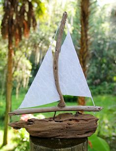 Driftwood Sailboat Coastal Decor DIY Handmade Beach Falconzeye.com
