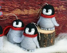 Your place to buy and sell all things handmade Cute Baby Penguin, Baby Penguins, Penguin Ornaments, Felt Christmas Ornaments, Wool Felt, Felted Wool, Emperor Penguin, Peace Dove, Red Scarves