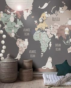 Baby wallpaper room world maps 61 ideas Baby Wallpaper, Little Hands Wallpaper, World Map Wallpaper, Kids Room Wallpaper, Children Wallpaper, Bedroom Wallpaper, Baby Bedroom, Baby Boy Rooms, Baby Room Decor