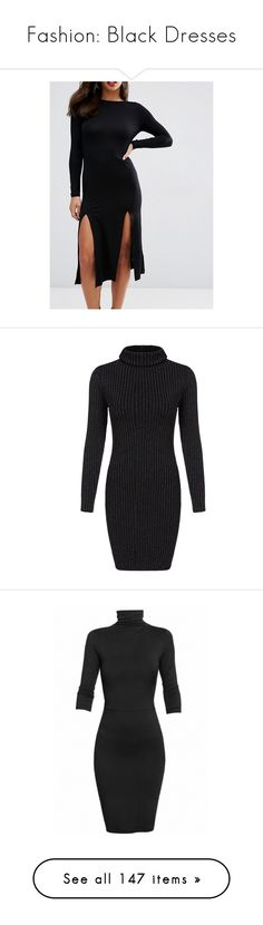 """Fashion: Black Dresses"" by katiasitems on Polyvore featuring dresses, multicolor, long-sleeve sweater dresses, short sleeve long dresses, turtleneck sweater dress, long-sleeve maxi dresses, sweater dresses, vestidos, black and short dresses"