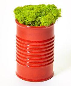 Red Modern Tin Can Pot Plant Decoration by flowerbox #zulily #zulilyfinds