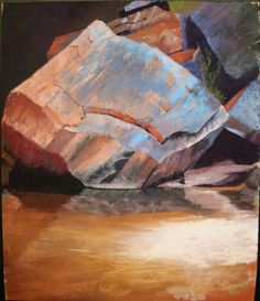 Beyond the Falls by Randye Jensen Pastel ~ x Pastel Artwork, Artist Art, All Art, Pastels, Fall, Drawings, Painting, Rocks, Artists