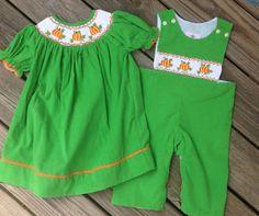 0eb66911a4d Matching Smocked Pumpkin BIshop   Longalls - perfect for Fall!  facebook.com smockstars.com