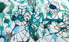 Straw flowers...blow paint, let dry and then use Sharpie to draw flowers.