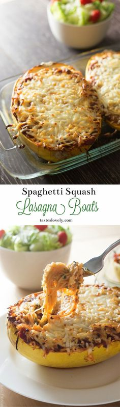 Spaghetti squash lasagna boats with Italian sausage and spinach. Recipe video, and the best way to roast the squash! #lowcarb #glutenfree #healthy