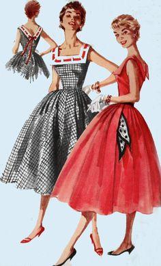 1950s Full Skirt Dress Wide Square Neckline, DEEP V Back Simplicity 1044 Vintage 50s ROCKABILLY Sewing Pattern Size 11 B29 by sandritocat on Etsy