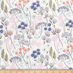 Lewis & Irene Make A Wish Flowers White from @fabricdotcom  Designed by Lewis and Irene, this floral cotton print fabric is perfect for quilting, apparel and home decor accents. Colors include blue, olive, periwinkle, pink, grey, peach, aqua and white.