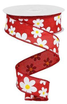 "5 Yards Daisy Flowers Purple Striped Satin Wired Ribbon 2 1//2/""W"