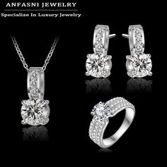 Arrival Wedding Jewelry Set Platinum Plt Crubic Zircon Necklace/Earring/Ring Set Choose Size For Ring CST0022-B - GKandAa - 1