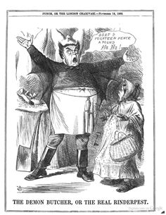 The Demon Butcher, or the Real Rinderpest. From Punch Vol. 48-49, 1865
