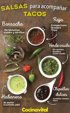 When there is taquiza, sauces are the main companion! Mexican Food Recipes, New Recipes, Cooking Recipes, Healthy Recipes, Ethnic Recipes, Mac Sauce Recipe, Gourmet Tacos, Salsa Picante, Empanadas