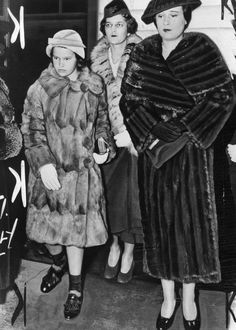 Gloria Vanderbilt--With her mother, Gloria Morgan, and governess. Gloria's mother lost custody of her in 1934, after a scandalous trial. Gloria's paternal aunt Gertrude Vanderbilt Whitney was awarded custody.