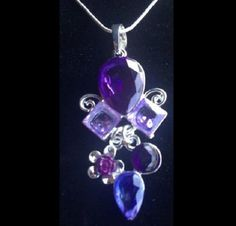 NEW- LOVELY PURPLE AMETHYST ROSE CRYSTAL PENDANT W/ SILVER SNAKE CHAIN NECKLACE #Unbranded #Pendant