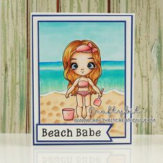 Miss Lilly on the Beach  stamp by Little Blue Button Stamps